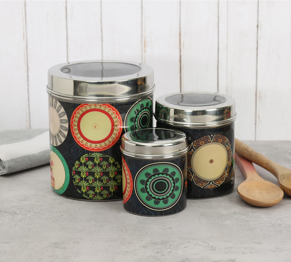 Platter Portrayal Steel Container (Set of 3)