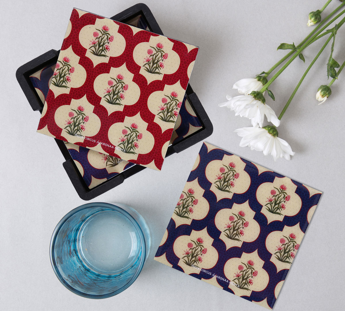 Poppy Flower MDF Table Coaster Set of 6