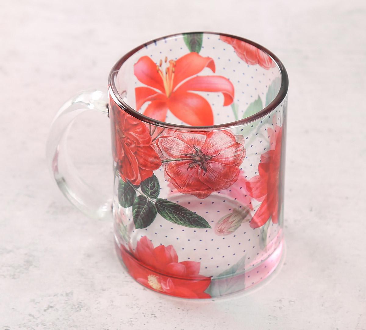 Red Blooms Glass Mug