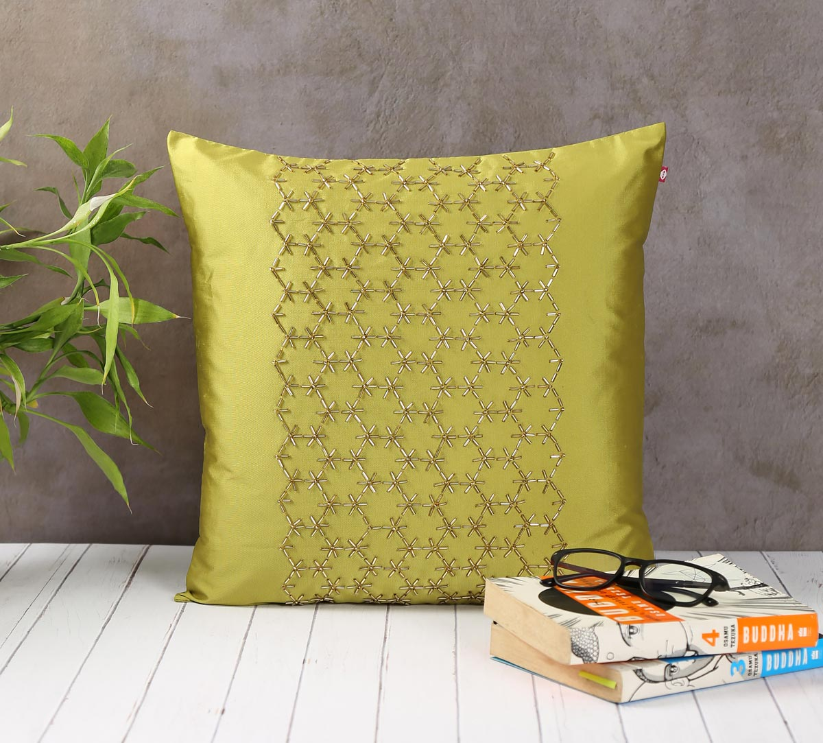 Rice Bead Hand Work Olive Green Cushion Cover
