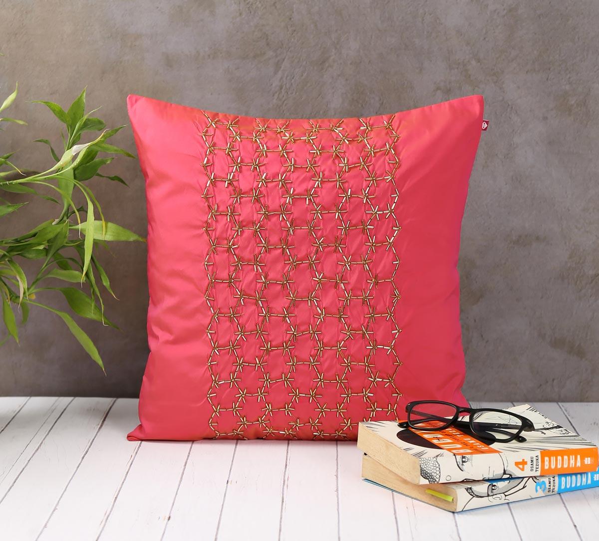 Rice Bead Hand Work Pink Cushion Cover