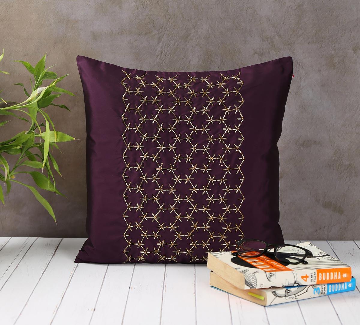 Rice Bead Hand Work Purple Cushion Cover