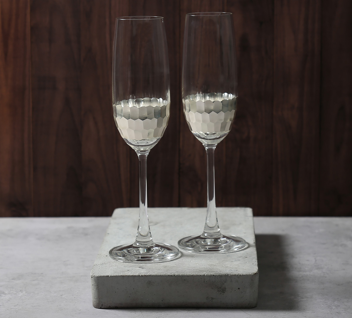Silver Honeycomb Champagne Glass (Set of 2)