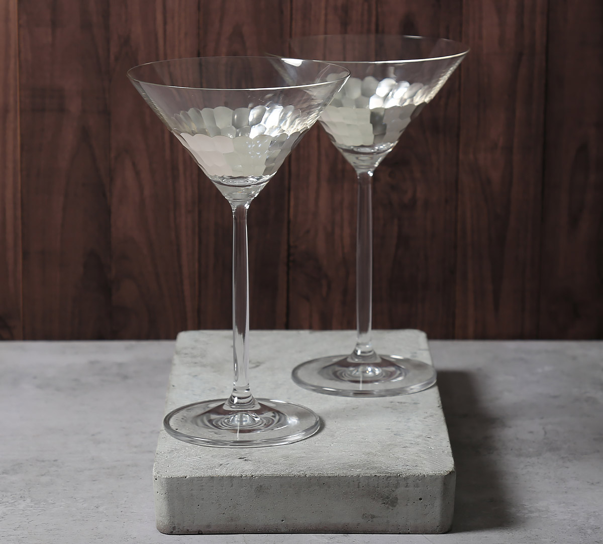 Silver Honeycomb Martini Glass (Set of 2)