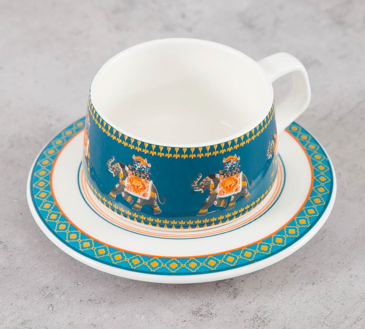 Swirling Safari Cup and Saucer (Set of 6)