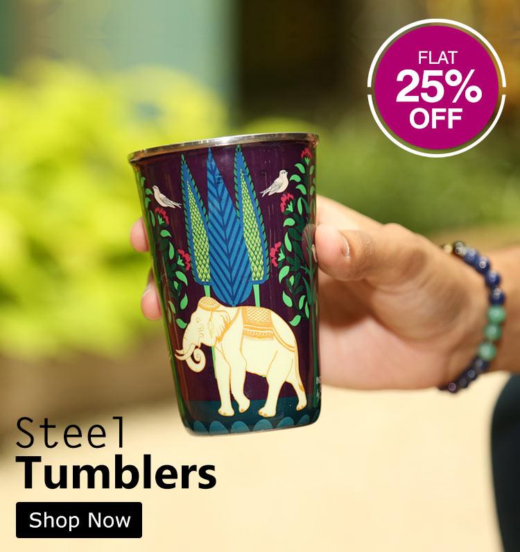 Buy Colourful Etiquette Steel Tumblers   Glassware Online